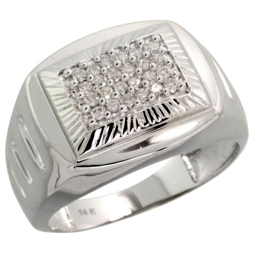 "14k White Gold Watch Band Style Men's Diamond Ring, w/ 0.25 Carat Brilliant Cut Diamonds, 9/16"" (15mm) wide, size 11"