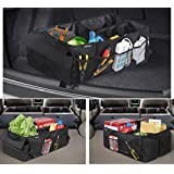 Zone Tech Classic Black Multi Compartment Collapsible Heavy Duty Premium Quality Rugged Pack Fabric Cargo Storage Trunk Backseat Organizer