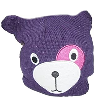Girls Purple Glittery Animal Face Beanie Style Hat Ages 3-10 Years Available (3-6 Years)