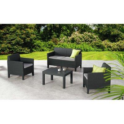 BEST 96114450 Loungegruppe 4-teilig amalfi, klein, graphit / hellgrau günstig online kaufen
