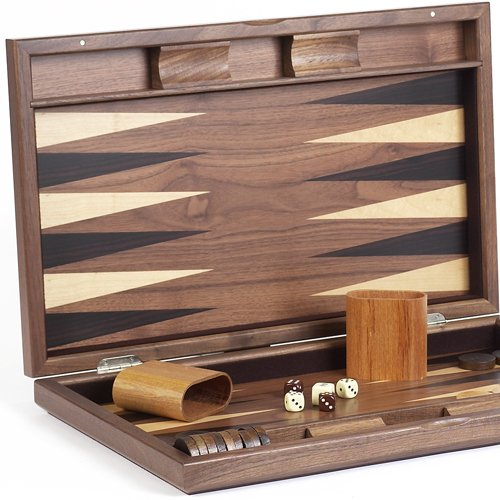 Gramercy Park Deluxe Wooden Walnut Backgammon Set 19 3/4