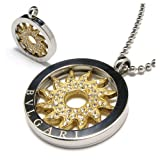 Alice 316L Stainless Steel Silver Circle Pendant With Plating 24K Gold And Rhinestone Flower