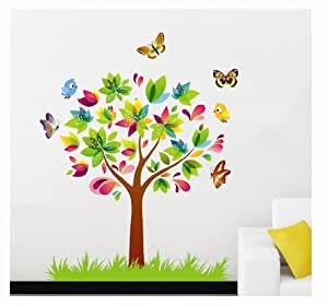 Instylewall Home Decor Vinyl Wall Sticker Butterflies Trees Kids Room Decal Art Mural Wallpaper