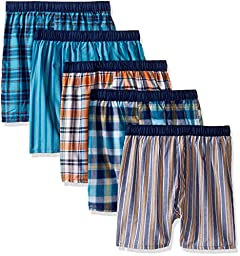 Fruit of the Loom Boys\' Big Boys\' 5 Pack Covered Waistband Boxer, Assorted, XL