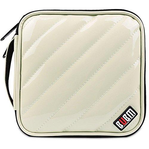 BUBM PU Smooth Leather Discs CD/DVD Storage Wallet Hard Case CD Bag,32 Capacity (Ivory White)