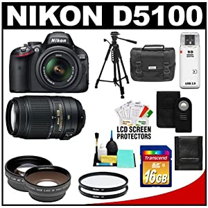 Nikon D5100 Digital SLR Camera & 18-55mm G VR DX AF-S Zoom Lens with 55-300mm VR Lens + 16GB Card + .45x Wide Angle & 2x Telephoto Lenses + Remote + (2) Filters + Tripod + Accessory Kit