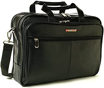 Alpine Swiss Leather Briefcase Laptop Bag
