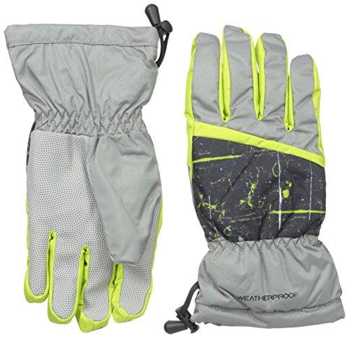 Weatherproof Big Boys' Fleece Lined Snow Ski Gloves, Grey, One Size
