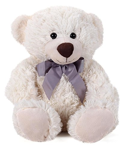 Star-Walk-MBE-SWK122-Teddy-Bear-Plush-with-Gray-Bow-Cream