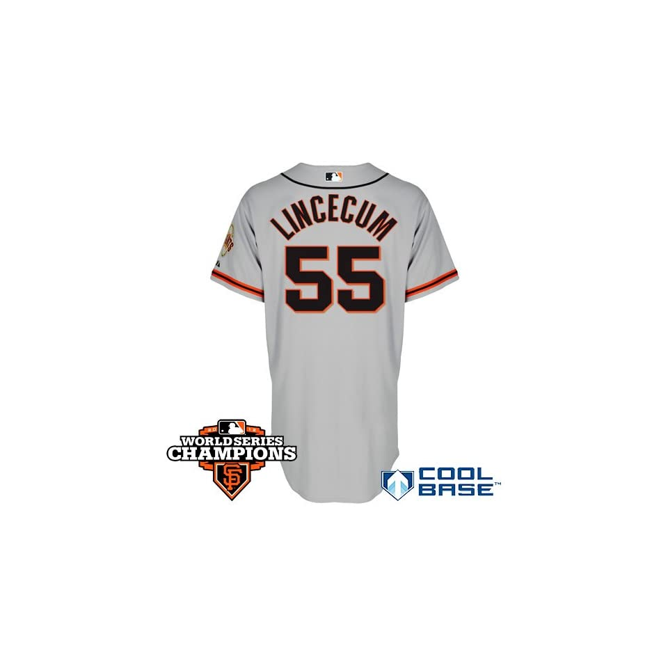 San Francisco Giants Authentic Tim Lincecum Road 2 Cool Base Jersey w/2012 World Series Champions Patch