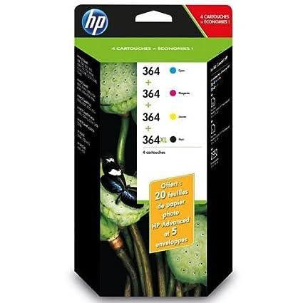 HP 364 Kit de Cartouches d'encre Cyan/Magenta/Jaune/Taille XL Noir