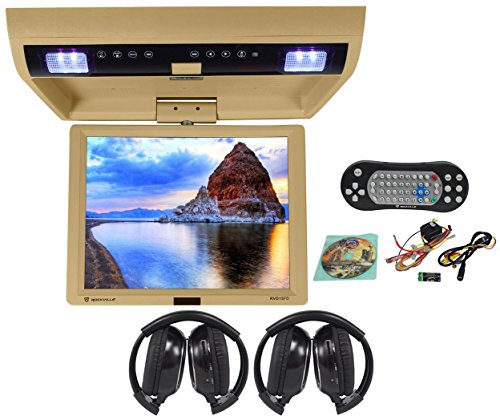 "Package: Rockville Rvd15Fd Beige 15"" Flip Down Car Monitor Dvd Player With Usb/Sd Inputs, Games, And Wireless Remote/Game Controller Tan + (2) Rockville Rfh3 Wireless Headphones"