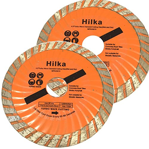 pack-of-2-hilka-115mm-turbo-diamond-cutting-discs-cuts-concrete-roof-tiles-bricks-patio-slabs-etc