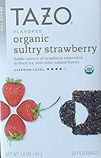 Tazo Flavored Organic Sultry Strawberry Black Tea Blend, 20 Filter Bags, 1.6 Oz.