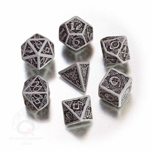 Q-Workshop Polyhedral 7-Die Set: Celtic 3D Gray & Black Dice Set!