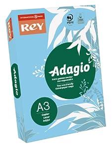 International Paper Rey Adagio Ramette de 500 feuilles papier couleur pour imprimante laser/jet d'encre/copieur 80g Format A3 Bleu vif
