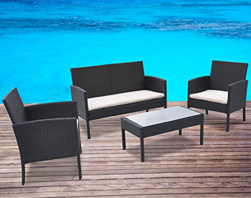 Radeway-4-PC-Cushioned-Seat-Outdoor-Patio-Set-Rattan-Wicker-Sofa