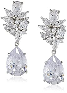"Cubic Zirconia by Kenneth Jay Lane ""Elegant Cubic Zirconia"" Rhodium-Plated Clear Post Drop Earrings"