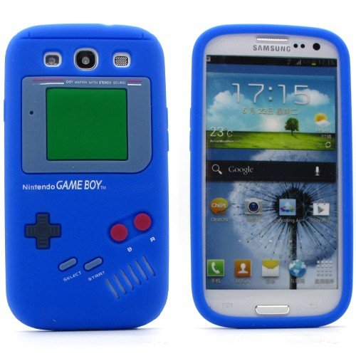 NAVY*COLLECTION (NICHT für S3 Mini) SAMSUNG GALAXY SIII S3 i9300 Blau Retro Gameboy Soft Silikon Case Cover Handy Schutz Hülle Schale Etui BUMPER