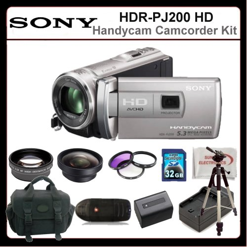 Sony HDRPJ200 Camcorder Kit Includes:Sony HDR-PJ200 High Definition Handycam Camcorder (Silver), 2X Telephoto Lens, 0.45X Wide Angle Lens, 3 Piece Filter Kit, Extended Life Battery + Charger, 32GB Memory Card, 72
