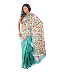 Aishee's Sea-Green, Cream, Blue And Black Colored Party Wear Silk Saree