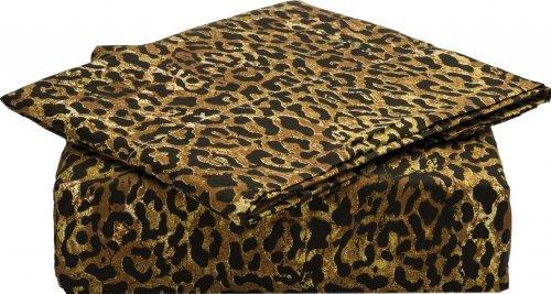 Clara Clark ® Signature 820 Collection 4 pc Bed Sheet Set, Queen Size, Jaguar Animal Print, Mocha Brown