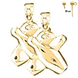 Earring Obsession's 14K Yellow Gold 21mm Bowling Pin And Ball Post Earrings (Approx. 3 grams)