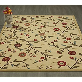 Ottomanson Otto Home Floral Garden Design Modern Area Rug with Non-SkidRubber Backing, 60