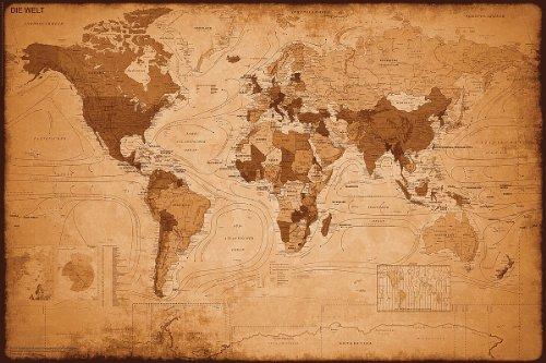 Weltkarte als Poster | Weltkarte im antiken Stil