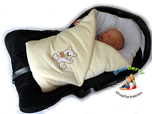 Newborn Cosy Fleece Swaddle Wrap Blanket for CAR Seat Sleeping Bag Birthday Gift (cream white)