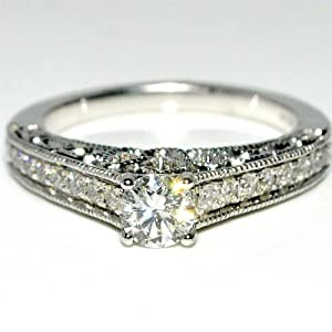 Real Diamond Engagement ring Vintage Solitaire Ornate 14K White Gold .68ct