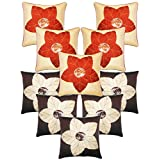 Laser Cut Flower Cushion Covers Combo Beige & Brown 40 X 40 Cms(10 Pcs Set)