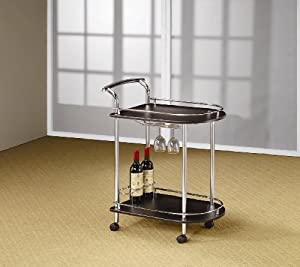 Modern Metal Serving Cart With Cappuccino Shelves, Space For Wine Glasses And Wine Bottle... by Coaster Home Furnishings