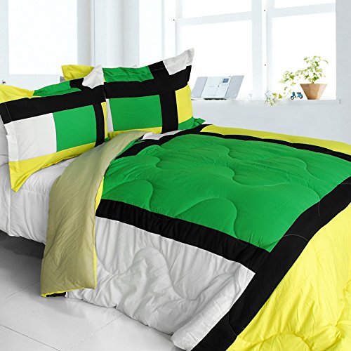 [Lush World] Quilted Patchwork Down Alternative Comforter Set (Twin Size) front-891887