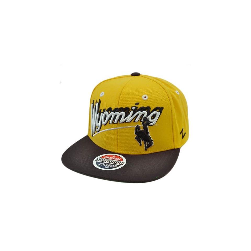 NCAA Wyoming Cowboys Flat Bill Zephyr Logo Snapback Hat Cap