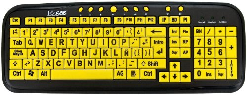 Ezsee Large Print Spanish (Latin American Or South American) Usb Wired Computer Keyboard For Visually Impaired - Yellow Keys With Black Jumbo Letters