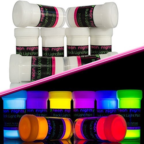 neon nights 8 x Vernice UV Neon Fluorescente Colorata Luminescente Invisibile