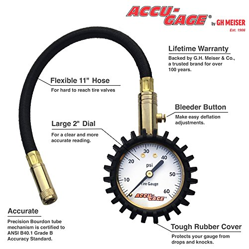 accu gage professional tire pressure gauge with protective rubber guard 60 psi. Black Bedroom Furniture Sets. Home Design Ideas