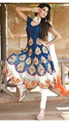 Khwish blue Blue Georgette Semi Stitched Suit by Bansi Fashion