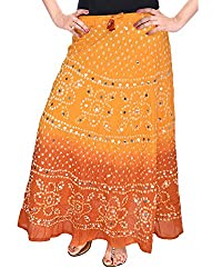 Soundarya Womens Cotton Long Skirt(RS3027, 38, Yellow and Brown)