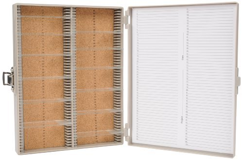 Heathrow Scientific Hd15994F Gray Cork Lined 100 Place Microscope Slide Box, 8.25 Length X 7 Width X 1.3 Height Style: Gray Foam Lined Size: 100 Place