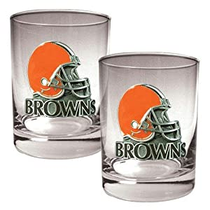 NFL Cleveland Browns Two Piece Rocks Glass Set - Helmet Logo by Great American Products
