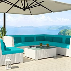 Uduka Outdoor Sectional Patio Furniture White Wicker Sofa Set Luxor Turquoise All Weather Couch by Uduka
