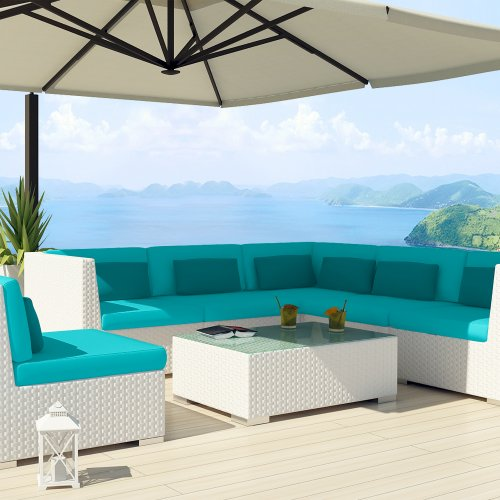 Uduka Outdoor Sectional Patio Furniture White Wicker Sofa Set Luxor Turquoise All Weather Couch photo