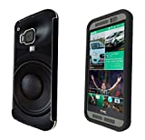 566 Dj Speaker Cool MUSIC DJ Clubing Design htc One M8 Full Body CASE With Build in Screen Protector Rubber Defender Shockproof Heavy Duty Builders Protective Cover