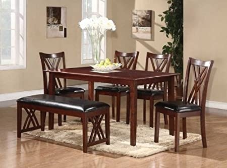 Home Elegance 2459 Brooksville 6Pc Dining Set - Table-4 Side Chair-Bench