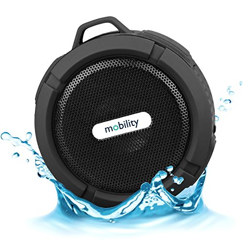 Mobility® AquaPlay Waterproof Bluetooth Speaker - Best Portable, Outdoor, and Shower Speaker - Wireless and Bluetooth 2.1 + EDR Technology - Black
