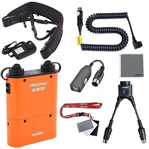 Fomito Godox PB960 Portable Extended Flash Power Battery Pack Kit Dual Output for Canon 600EX 580EX II 580EX 550EX 540EZ 430EZ, for Yongnuo Flashes, for AD600 AD360 AD180, for Mobile phone Orange (Canon Portable Flash compare prices)