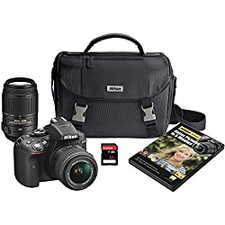 Nikon D5300 DX-format Digital SLR Kit w/ 18-55mm VR II and 55-300mm VR Lens Kit (Black)