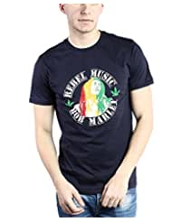 TOMO Men's Cotton Navy Blue Color Round Neck BOB MARLEY Printed T-shirt